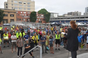 Katherine Schultz addresses the Policymaker Ride from the steps of the new PNCA.