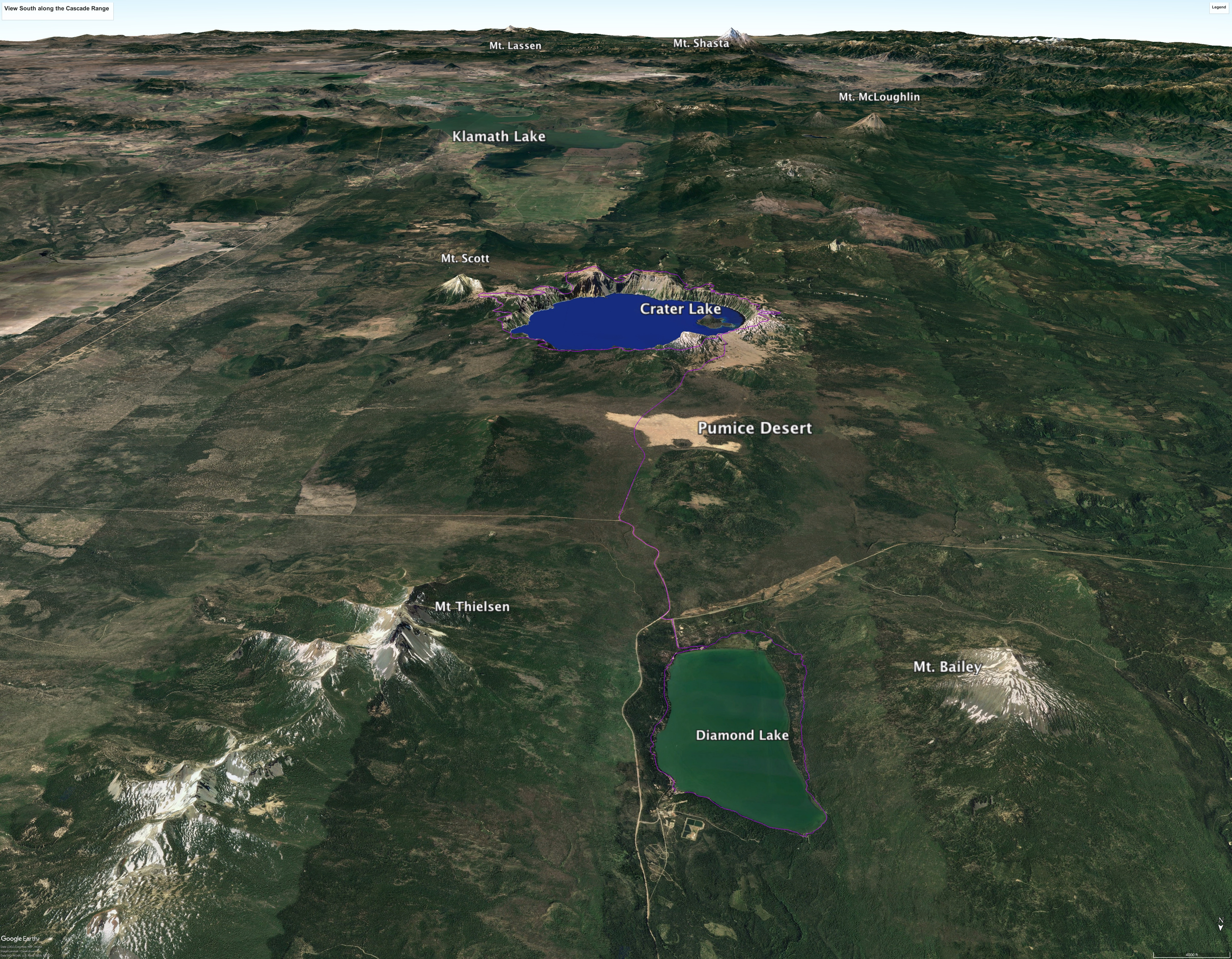 Figure 1: The view south shows our route around Crater Lake, which occupies  the stump of Mt. Mazama. The Cascade volcano chain extends south from Crater  ...